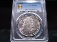 1893 MINT STATE 64 MORGAN SILVER DOLLAR PCGS CERTIFIED GOLD SHIELD HOLDER - WHITE
