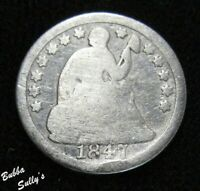 1847 SEATED LIBERTY HALF DIME <> G DETAILS