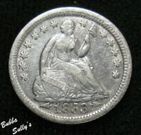 1853 WITH ARROWS SEATED LIBERTY HALF DIME <> FINE