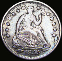 1855 SEATED LIBERTY HALF DIME SILVER TYPE COIN ----  ---- X837