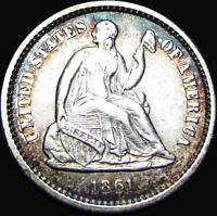 1861 SEATED LIBERTY HALF DIME SILVER TYPE COIN ---- STUNNING ---- X846