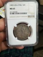 1903S ONE PESO MINT STATE 63 NGC PHILIPPINES