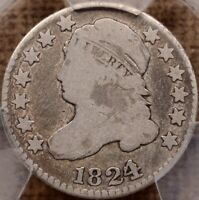 1824/2 JR 1 TOUGH DATE CAPPED BUST DIME PCGS G6 VERY NICE
