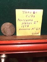 SPAIN COLONY SILVER COIN PROCLAMATION MEDAL JARUGO 1834 ISABEL JUST A BEAUTY