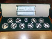 CANADA 1988 CALGARY WINTER OLYMPIC PROOF SILVER COIN SET 10