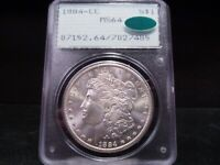 1884-CC MINT STATE 64 MORGAN SILVER DOLLAR PCGS/CAC CERTIFIED - BLAST WHITE/FROSTY LUSTER