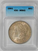 1901 MORGAN DOLLAR $ MINT STATE 62 ICG 937370-4
