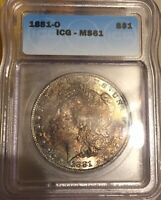 1881-0 ESTATE  RAINBOW TONED MORGAN SILVER DOLLAR MINT STATE 61 ICG