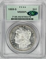 1889-S $1, PL MORGAN DOLLAR OGH PCGS MINT STATE 65PL CAC APPROVED