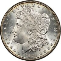 1881 MORGAN DOLLAR - WHITE FLASHY CHOICE BU, BETTER PHILADELPHIA MINT