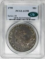 1799 $1 DRAPED BUST DOLLAR - PCGS AU50 CAC APPROVED