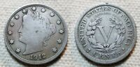 1912 S  LIBERTY V NICKEL SCARCE DATE / ONLY S MINT FOR THE S