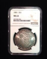 1881 SILVER MORGAN DOLLAR NGC MINT STATE 63