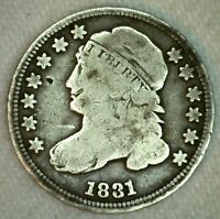 1831 CAPPED BUST SILVER EARLY US DIME 10C US TYPE COIN TEN CENT SILVER COIN