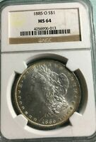 1885 0 $1 MORGAN DOLLAR, NGC MINT STATE 64
