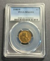 1940-D LINCOLN WHEAT CENT - PCGS MINT STATE 66RB