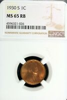 1930 - S NGC MINT STATE 65RB LINCOLN WHEAT CENT  B17167