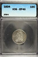 1834 - ICG EF40 CAPPED BUST DIME  B12537