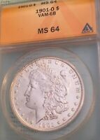 1901 0 $1 MORGAN DOLLAR, ANACS MINT STATE 64 VAM-6B