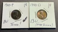 1940-P & 1940-D LINCOLN WHEAT CENT BU - TONED  TONING - 2 COIN LOT