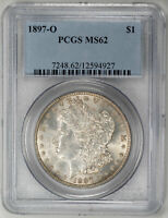 1897-O $1 MORGAN DOLLAR - PCGS MINT STATE 62 CERTIFIED US  COIN