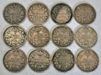 12 CANADA COINS SILVER 5 CENTS 1881 1919 MOSTLY F VF