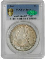 1846 SEATED LIBERTY DOLLAR $ MINT STATE 64 SECURE PLUS PCGS  CAC 941736-1