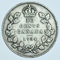 CANADA GEORGE V 10 CENTS 1934 SILVER COIN VF