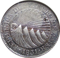 1831 TF CENTRAL AMERICA REPUBLIC  HONDURAS  SILVER 2 REALES  OLD COIN