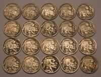 HALF ROLL OF FULL DATE BUFFALO NICKELS--20 COINS IN ALL