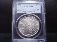 1893 MINT STATE 64 MORGAN SILVER DOLLAR PCGS CERTIFIED - BRIGHT WHITE PREMIUM EXAMPLE