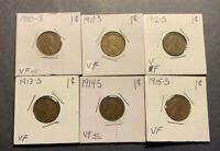 1910-S 1911-S 1912-S 1913-S 1914-S 1915-S LINCOLN WHEAT CENTS VF - 6 COIN LOT
