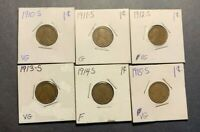 1910-S 1911-S 1912-S 1913-S 1914-S 1915-S LINCOLN WHEAT CENTS G/F - 6 COIN LOT