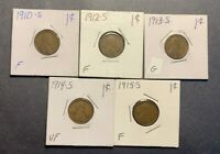 1910-S 1912-S 1913-S 1914-S 1915-S LINCOLN WHEAT CENTS G-VF - 5 COIN LOT
