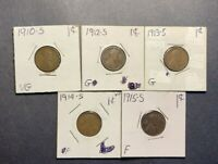 1910-S 1912-S 1913-S 1914-S 1915-S LINCOLN WHEAT CENTS G/F - 5 COIN LOT