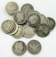 LOT OF  20  PRE  1900 CIRCULATED SILVER BARBER QUARTERS