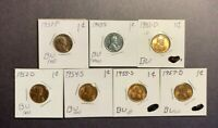1930'S 40'S 50'S P-D-S LINCOLN WHEAT CENTS BU - RD RED - 7 COIN LOT