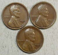 LOT OF THREE SEMI KEY LINCOLN CENTS, ONE EACH 1921-S, 1923-S & 1924-S,  CIRC