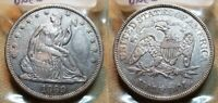 1869 P SEATED LIBERTY HALF DOLLAR 50C  NICE DETAILS CLEANED