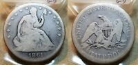 1861 P SEATED LIBERTY HALF DOLLAR 50C  FROM OLD 1960 COLLECT