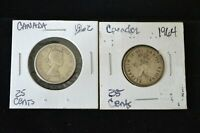 LOT OF 2 CANADIAN SILVER 25 CENT COINS 1962 & 1964  HIGHER G