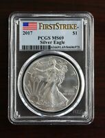 2017 SILVER EAGLE PCGS MINT STATE 69  FIRST STRIKE $1 DOLLAR FIRST DAY OF ISSUE