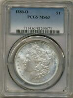 1880-O MORGAN PCGS MINT STATE 63 UNCIRCULATED SILVER DOLLAR COIN NEW ORLEANS MINT TONED
