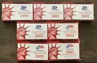 UNITED STATES MINT SILVER PROOF SETS 1999 2001 2002 2003 200