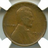 1922 PLAIN LINCOLN CENT, NGC VF-20 NO D, STRONG REVERSE, GOOD LOOKING KEY DATE