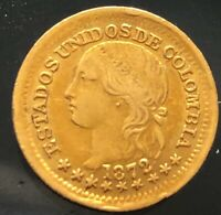 STUNNING 1872 COLOMBIA ONE PESO GOLD COIN