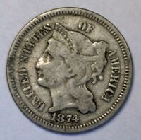1874 UNITED STATES 3 CENT NICKEL COIN