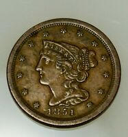 1851 P BRAIDED HAIR LIBERTY HALF CENT EARLY COPPER HALF PENN