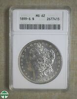1899-S MORGAN DOLLAR - ANACS CERTIFIED - MINT STATE 62