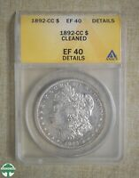 1892-CC MORGAN DOLLAR - ANACS CERTIFIED - EF 40 DETAILS - CLEANED